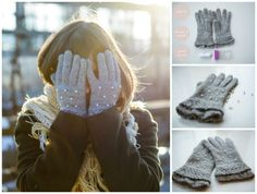 This blogger transformed a pair of old gloves into glamourous winterwear with the addition of pearls.