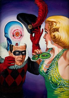 Virgil Finlay, Masquerade Digest cover, oil on canvas.