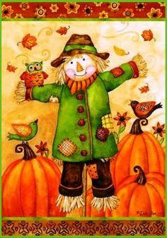 Custom Decor Flag - Scarecrow Owl Decorative Flag at Garden House Flags at GardenHouseFlags Autumn Painting, Autumn Art, Autumn Theme, Scarecrows For Garden, Fall Scarecrows, Fall Clip Art, Thanksgiving Art, Decoupage, Autumn Illustration