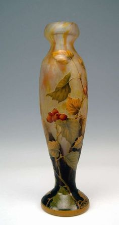 Daum Nancy Tall Vase with Rosehips