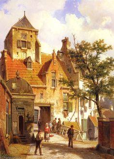 Une scène de rue à Haarlem de Willem Koekkoek (1839-1895, Netherlands)