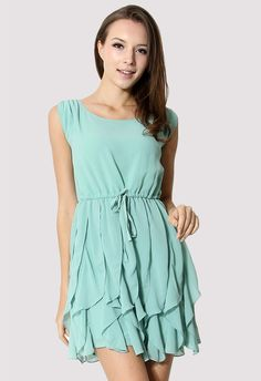 Jade Green Flouncing Sleeveless Chiffon Dress - Retro, Indie: Bridesmaid. Absolutely Perfect.