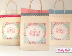 Personalised Floral Vintage Hen Party Gift Bag with lace trime  pearls!  Really cute :)