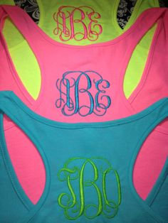 Neon Color Racerback Tank with Vines Monogram. $23.00, via Etsy.
