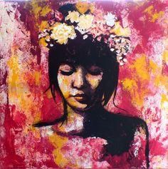 """""""Mädchen mit Blumenkranz"""" #EdlArt acryl on Canvas 80 x 80 cm Deco, Portrait, Painting, Floral Wreath, Deko, Men Portrait, Painting Art, Dekorasyon, Portrait Illustration"""