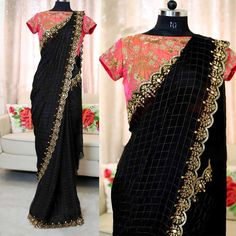 black-color-heavy-chanderi-cotton-embroidered-with-pearl-work-saree Product Code: JR BLACK CHEX Color: Black Fabrics: Chanderi Cotton Chex Half Saree Designs, Silk Saree Blouse Designs, Saree Blouse Patterns, Black Blouse Designs, Black Saree Blouse, Kurta Designs, Designer Salwar Kameez, Designer Sarees, Designer Wear