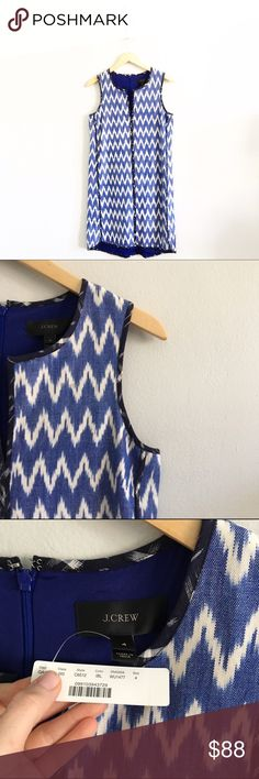 "J. Crew Sleeveless Ikat Dress Size 4. Brand new with tags.. First picture filtered. Length measures approx. 35"". Chest measures approx. 18.5"" laying flat from underarm to underarm. Fully lined. 100% cotton, 100% polyester lining. *1116161399* J. Crew Dresses"