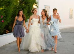 I am usually not a fan of blue for the bridesmaids, but here it was the perfect choice for Phoebe Papadoulos' wedding in Greece