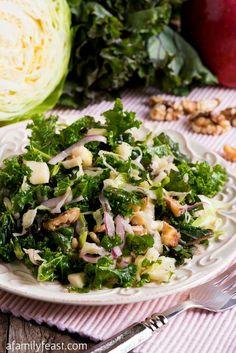Kale Apple Walnut Salad - A Family Feast® Kale Recipes, Healthy Eating Recipes, Healthy Salads, Kale Apple Salad, Apple Walnut Salad, Dessert, Cabbage, Clean Eating, Ethnic Recipes