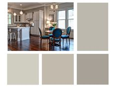 Mindful Gray (Sherwin Williams 7016) is my favorite. I've included an example of the paint color (from Houzz) on the design board. Its the top right paint swatch. It blends great with white trim, wood floors and pops of color.   Sedate Gray (Sherwin Williams 6169) is a light gray color, the lightest of the four. This can look more beige in darker rooms but it's the perfect light gray color in sunny spaces. This is the swatch on the bottom left.   Jogging Path (Sherwin Williams 7638) has a…