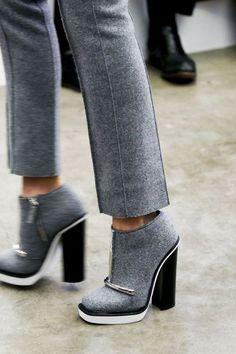 gray tweed wool booties with a chunky heel