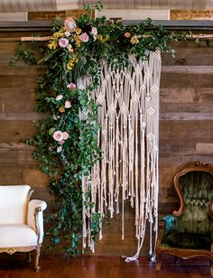 floral macrame backdrop