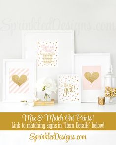 Don't Say Baby Shower Game Blush Pink Gold by SprinkledDesign