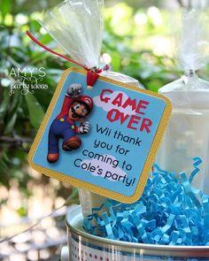 Super Mario Bros Birthday Party Ideas on Super Mario Party Ideas Favor Tag Super Mario Party, Super Mario Birthday, Mario Birthday Party, 6th Birthday Parties, Super Mario Bros, Birthday Ideas, Nintendo Party, Mario Und Luigi, Party Favor Tags