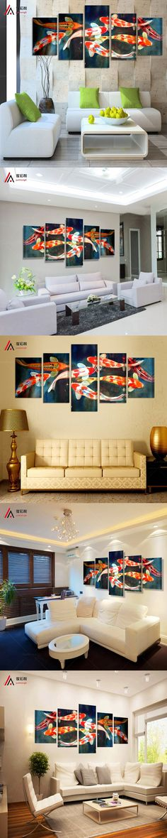 5 panel canvas art Koi Fish Wall Art Chinese Painting Wall Art on Canvas Home Decor Modern large Wall Picture for Living Room $46.9