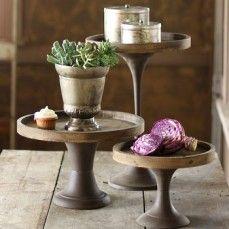 Wood and Metal Pedestals