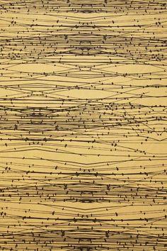Reeds silk douppion fabric - Hopsack/Black