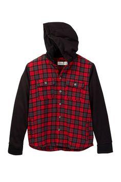 Scottie Long Sleeve Plaid Shirt with Hood (Big Boys)