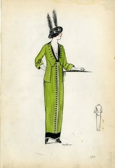 """Day dress, 1912. Lime green dress and jacket; black buttons with white ruffle down center front of dress from waist to ankle; floor length dress; black trim on collar and bottom of skirt; white ruffle also on bottom of skirt; white gloves and black hat wi"", 1912. Fashion sketch. Brooklyn Museum, Fashion sketches. (Photo: Brooklyn Museum, SC01.1_Bendel_Collection_HB_002-43_1912_SL5.jpg)"