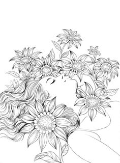 Doodle Art Drawing, Pencil Art Drawings, Art Drawings Sketches, Fairy Coloring Pages, Free Adult Coloring Pages, Coloring Books, Kids Coloring, Colorful Pictures, Line Art