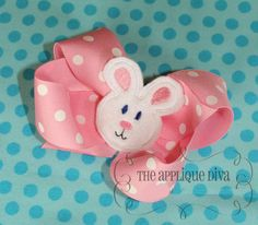 Easter Bunny Rabbit Hair Bow Center Embroidery by theappliquediva, $2.99