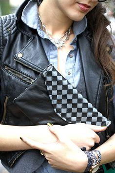 Oleander, Charlene clutch in black/grey handwoven lambskin leather