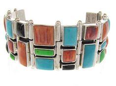 Multicolor Inlay Silver Whiterock Link Bracelet GS61115
