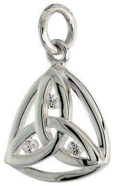 Sterling Silver Trinity Pendant w/ 3 Brilliant Cut CZ Stones, 5/8 inch (15 mm) tall Sabrina Silver. $31.53