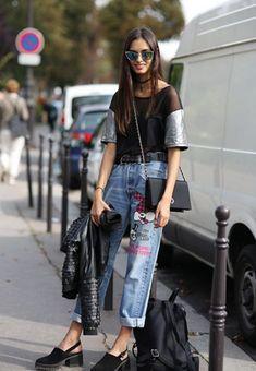top jeans bordados