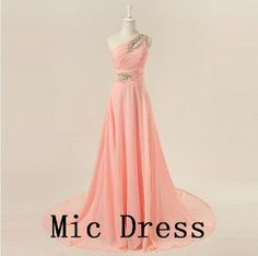 One-shoulder sleeveless floor-length chiffon beading appliques long prom/Evening/Party/Homecoming/cocktail /Bridesmaid/Formal Dress on Etsy, $129.00