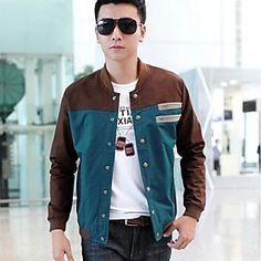 Men's Autumn Fashion Splicing Contrast Color Slim Stand Collar Jacket Outerwear - Men's Apparel Deals
