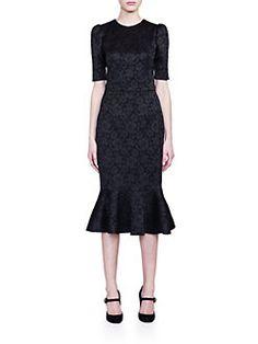 Dolce & Gabbana - Floral Jacquard Flutter-Hem Dress