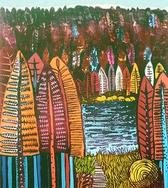 The Lake 1 - Liz Somerville Paper Cutting, Printmaking, Greeting Cards, Lino Cuts, Quilts, Rock, Landscape, Scissors, Water