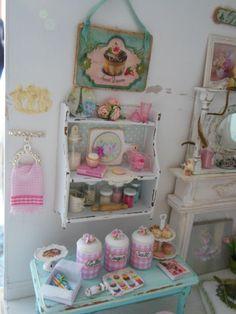 My shabby 1:12 house.  All of the wonderful food items were created by Kim Saulter, Kimsminibakery on etsy. ~mandy wayman