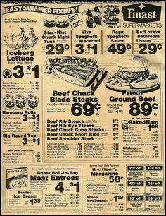 Vintage Finast Supermarket Ad - 1975:     From the July 15, 1975 edition of the Wallingford (CT) Post Early Bird.  Finast sale prices effective July 13 - July 19, 1975.
