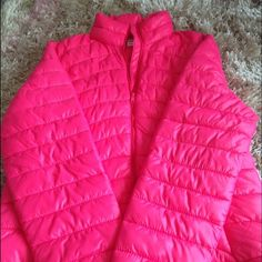 Hot pink jacket Great condition, only worn 3 times. Hot pink jacket light weight Old Navy Jackets & Coats