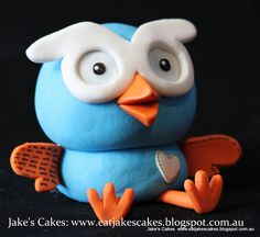 Hoot and Hootabelle cake toppers for a little girl turning Happy Birthday Amber! All handmade from sugar. 3d Cakes, Cupcake Cakes, 2nd Birthday, Happy Birthday, Birthday Cakes, Jake Cake, Gorgeous Cakes, First Birthdays, Cake Toppers