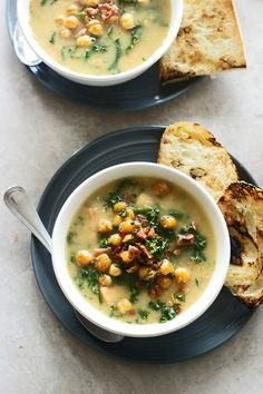Chickpea Soup with Kale and Bacon | http://cookingforkeeps.com #soup #recipe #lunch #recipes #easy