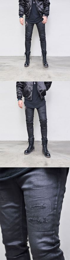 Coating Knife Cut Damage Black-Jeans 346 by Guylook.com  Coated black spandex denim with great flexibility Handsomely patterned slim straight cut Vintage knife cut detailing Absolutely must-have stylish bottom with incredible price