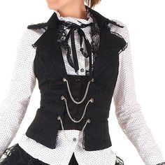 Black Lace Gothic Vest with Chains | Crazyinlove International
