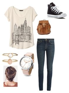Ready for the city by ashlyn-simpson on Polyvore featuring polyvore, Banana Republic, Yves Saint Laurent, Converse, Accessorize, fashion, style and clothing