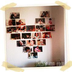 Un corazón de fotos. Puedes ver cómo se hace en: http://manualidades.euroresidentes.com/2013/05/idea-para-decorar-con-fotos.html