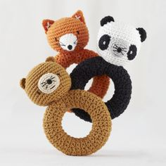 Shop Baby Gear: Plush Animal Rattles.  Our hand-crocheted Animal Rattles set are made with 100% cotton yarn and provide a really wild time for teething babies.