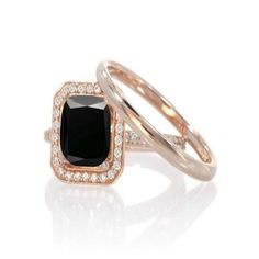 1.50 Carat Princess cut Black and White Diamond Halo Bridal Set in 14k Rose Gold sapphire and diamond engagement ring #blackdiamonds