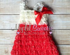 Red and ivory lace dress, red dress, baby girl outfit, infant outfit, special occasion dress, holiday dress, toddler dress, girls dress,