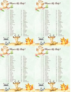 Woodland Forest Animal Baby Shower Game.  Who's my baby.  Free Printable