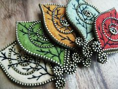 Zipper & Felt Leaf Brooches