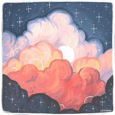 levitann Aesthetic Painting, Aesthetic Art, Pretty Art, Cute Art, Arte Sketchbook, Mini Canvas Art, Acrylic Art, Painting & Drawing, Sky Painting