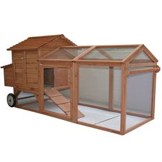 "Pawhut 96"" Wheeled Tractor Hen House Chicken Coop w/ Run 1"
