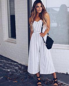 Felicia Striped Jumpsuit - White